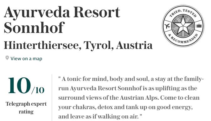 artikel ayurveda resort sonnhof