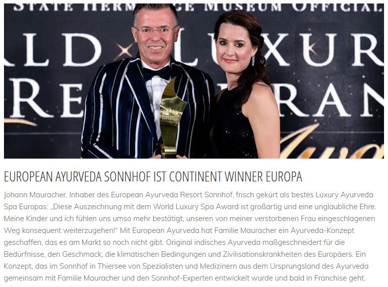 artikel ayurveda resort sonnhof, world luxery spa award geschäftsführer
