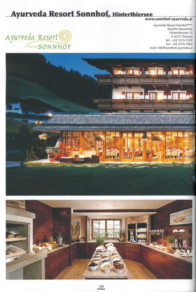 Msgazin artikel über Ayurveda Resort Sonnhof